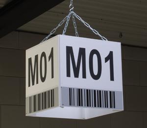 ONE2ID magazijn kubus vierkant bord scannen bulklocatie