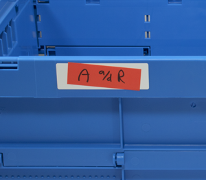 ONE2ID verwijderbaar etiket label adapter kratten bakken magazijn