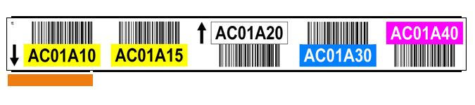 ONE2ID Lageretiketten mit Höhenfarben und Strichcodes