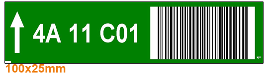 ONE2ID Kommissionieretiketten mit Barcode und Farben Strichcode Regalträger