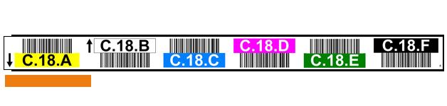 ONE2ID Regaletiketten mit Strichcodes, Farben und Pfeilen