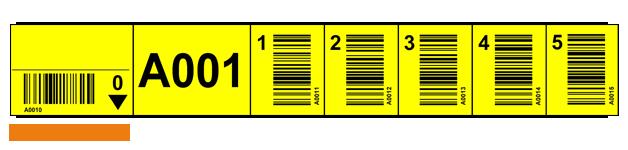 ONE2ID Lagerregaletiketten Gelb mit Strichcode