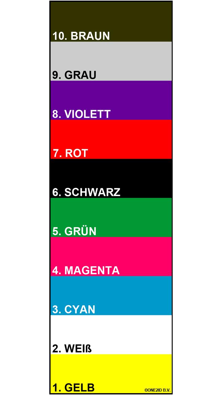 ONE2ID Regaletiketten mit Höhenfarben und Strichcode