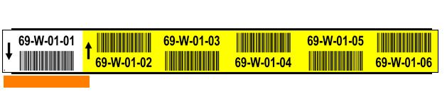 ONE2ID Barcode-Etiketten gelb und weiß Lagerregale