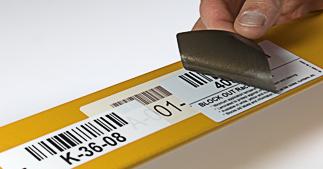 ONE2ID Block Out Lageretiketten mit Strichcode