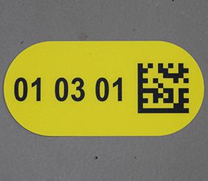 ONE2ID Bodenetikett mit DataMatrix Code