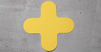ONE2ID Bodenkennzeichnung Bodenetiketten Kreuze