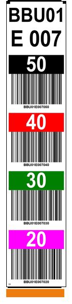 ONE2ID Farbcodierte Regaletiketten für Regalständer