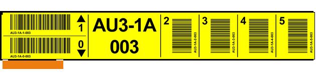ONE2ID Gelbe Lagerplatz-Etiketten mit vertikaler Barcode