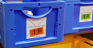 ONE2ID Kistenetiketten Etikett-Adapter Karren Wagen Lageretiketten