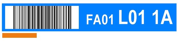 ONE2ID Kommissionieretikett blau mit Barcode