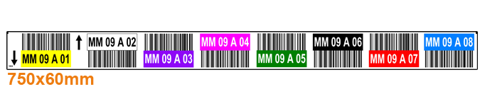 ONE2ID Lageretiketten mit Strichcodes und Farben