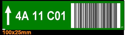 ONE2ID Lageretiketten mit Barcode Farben und Pfeile
