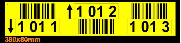 ONE2ID Lageretiketten mit Barcode und Pfeile