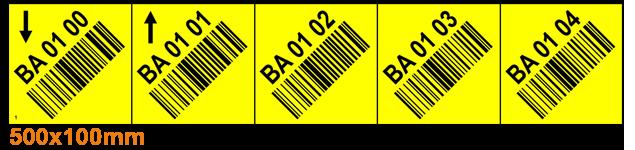 ONE2ID Lagerhausetiketten mit schräggestellten Barcodefeldern