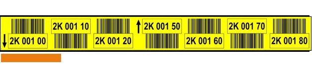 ONE2ID Lagerplatz-Etiketten mit Barcode gelb