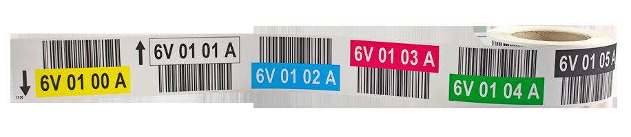 ONE2ID Lagerplatzetiketten mit Barcode und Farben