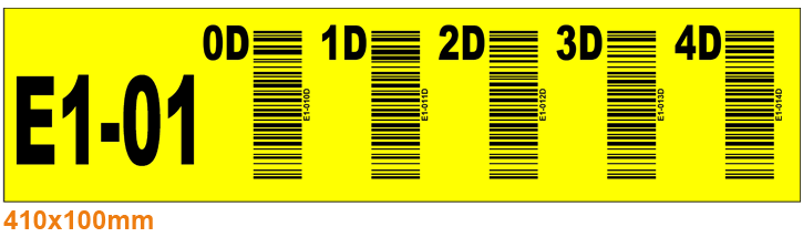 ONE2ID Lagerregaletikett gelb mit vertikaler Barcode