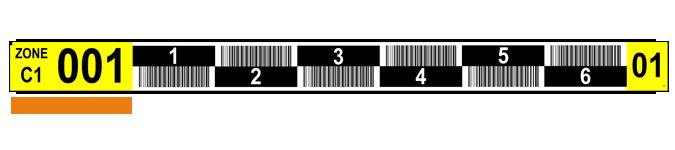 ONE2ID Lagerregaletiketten gelb und schwarz Barcode