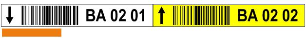 ONE2ID Lagerregaletiketten gelb und weiß mit Strichcode