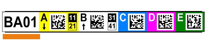 ONE2ID Lagerregaletiketten mit 2D-DataMatrix-Code und Farbcodierung