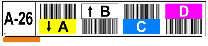 ONE2ID Lagerregaletiketten mit Barcode und Pfeile