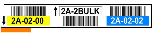 ONE2ID Lagerregaletiketten mit Pfeile und Barcode