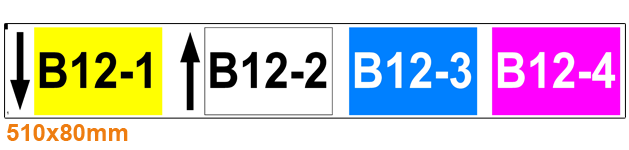 ONE2ID Lagerregaletiketten mit Pfeile und Höhenfarben