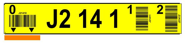 ONE2ID Lagerregaletiketten mit vertikale Barcode und Ziffern