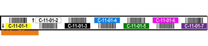 ONE2ID Lagerregaletiketten sieben Ebenen mit Farbcodierung