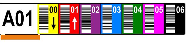 ONE2ID Multilevel Farbcodierte Regaletiketten mit vertikaler Barcode