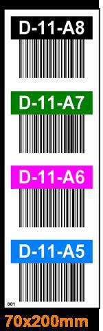 ONE2ID Regaldurchfahrten vertikale Etiketten mit Barcode