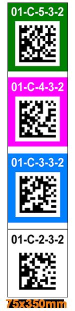 ONE2ID Regaldurchfahrten vertikale Etiketten mit DataMatrix-Code