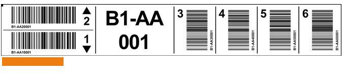ONE2ID Regaletikett mit horizontaler und vertikaler Barcode
