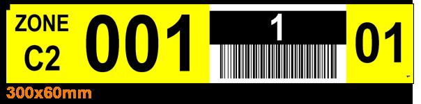 ONE2ID Regaletiketten Palettenregal gelb und schwarz