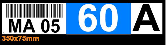 ONE2ID Regaletiketten blau mit Barcode und Buchstaben