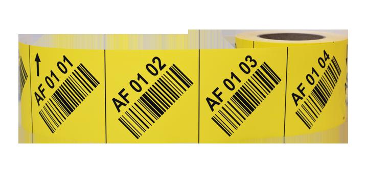 ONE2ID Regaletiketten gelb mit schräggestellten Barcode