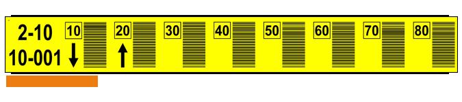ONE2ID Regaletiketten mit vertikaler Barcode gelb