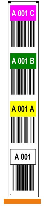 ONE2ID Vertikale Farbcodierte Regaletiketten mit Barcode