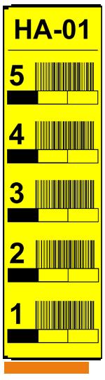 ONE2ID Vertikale Regaletiketten gelb
