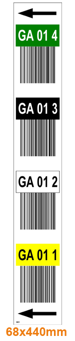 ONE2ID Vertikale Regaletiketten mit Farben und Barcode