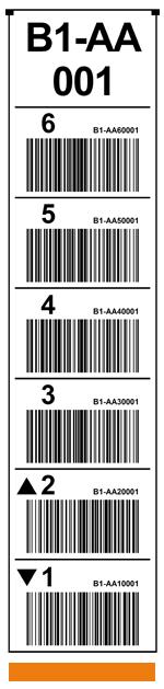 ONE2ID Vertikale Regaletiketten mit Strichcode weiß