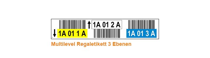 ONE2ID Lageretiketten mit Höhenfarben 3 Ebenen