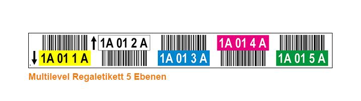 ONE2ID Lagerplatz-Etiketten mehrfarbig 5 Ebenen Hochregallager