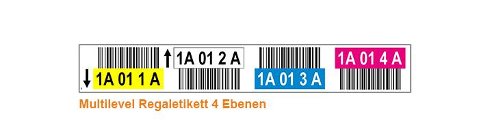 ONE2ID Mehrfarbige multilevel Regaletiketten 4 Ebenen mit Barcode