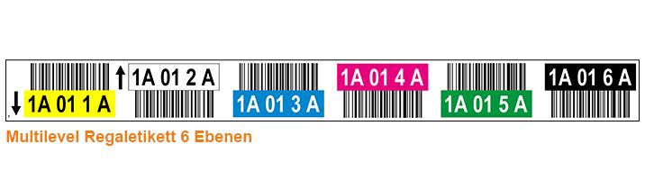 ONE2ID Multilevel Lagerregaletiketten 6 Ebenen