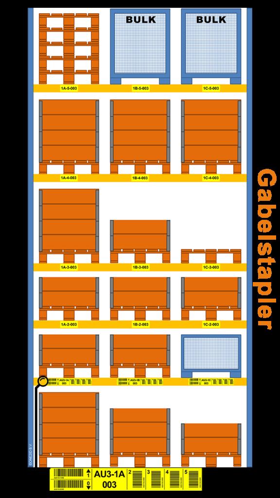 ONE2ID Gelbe Regaletiketten für Gabelstapler Lagerplätze